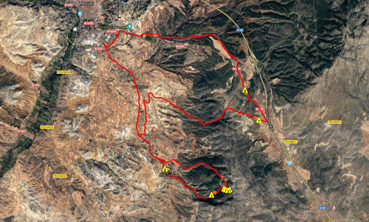Ruta BTT: Aldehuela – Hortaleza – Castralvo – Carrascal – Fuente Cerrada – Teruel