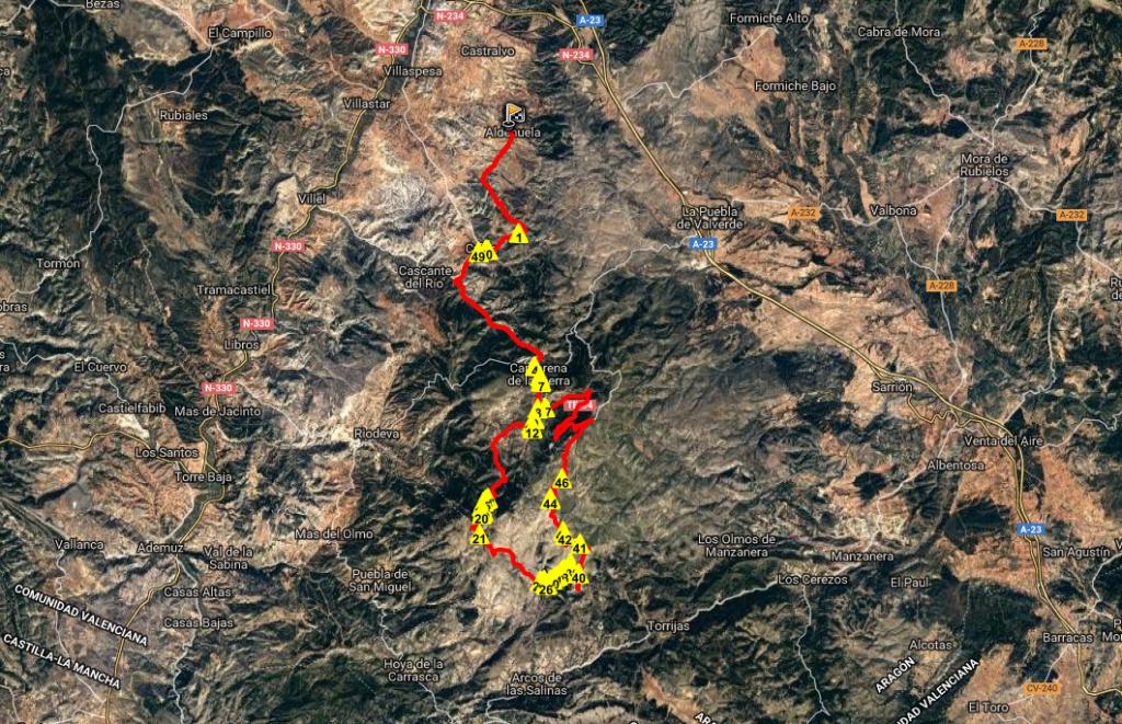 Ruta BTT AldehuelaValacloche Camarena Matahombres Collado Buey Pico Buitre Javalambre_mapa