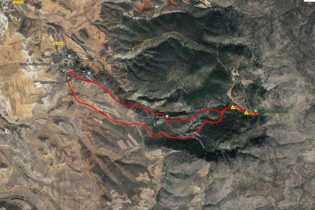 mapa ruta Aldehuela - Hortaleza
